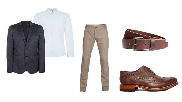 8396e6711fae0 Jersey Blazer in Navy Grey, €32.99 by New Look. Oxford Shirt in Blue,  €38.00 by Topman. Three Paris Chino Pants in Beige, €34.99 by Selected  Homme.