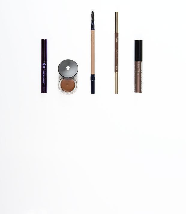 Pictured, from left, Urban Decay Brow Tamer in Neutral Brown; Lancome Sourcils Gel in Auburn; Estee Lauder Brow Now in Blonde; Clarins Eyebrow Pencil in Light Brown; Catrice Eyebrow Filler in No20. Photo: Kip Carroll.