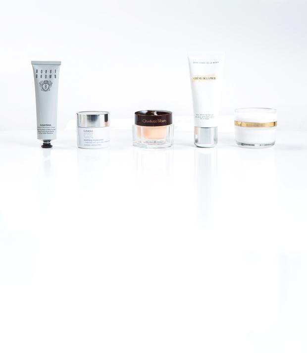 Pictured, from far left, Bobbi Brown Instant Detox Mask; Clinique CX Soothing Moisturiser; Charlotte Tilbury Magic Night Cream; Creme de la Mer The Refining Facial; Sisley Integral Anti-Age; La Prairie Rapid Response Booster; Laura Mercier Candle Glow Foundation; Clarisonic Sonic Radiance unit with Peel Cleanser; YSL Touche Eclat Neutraliser in Apricot; Tom Ford Purifying Cleansing Oil. Photo: Kip Carroll.