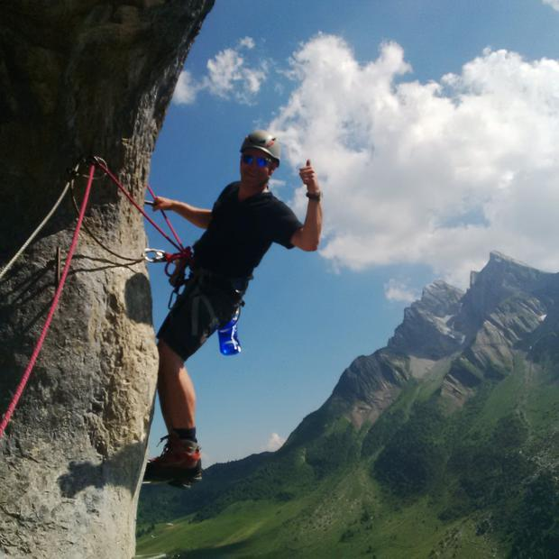 One of the group enjoying the 'via ferrata' mountain climb.