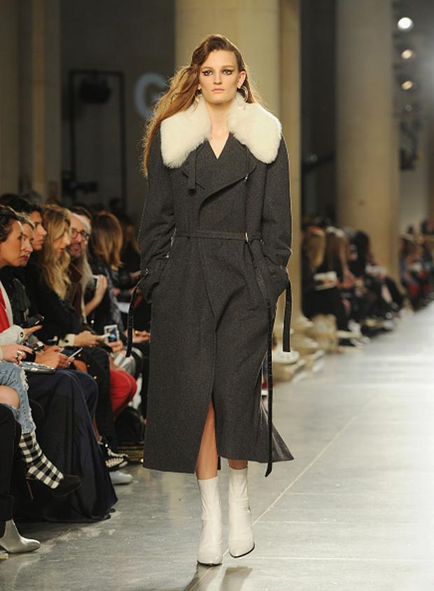 A Katherine Hepburn-inspired coat that's perfect for the winter work wardrobe. (Photo by Eamonn M. McCormack/Getty Images). Topshop Unique AW16.