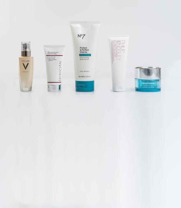 Pictured, from left, Vichy Neovadiol Compensating Complex Advanced Replenishing Concentrate; Skinician Pro-Radiance Enzyme Peel; No7 Protect & Perfect Intense Moisturising Body Serum; Philip Kingsley Elasticizer; Estee Lauder New Dimension Tighten + Tone Neck/Chest Treatment