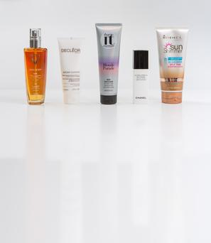 Pictured, from left, Vichy Ideal Body Oil; Decleor Aroma Cleanse 3 in 1 Hydra Radiance Smoothing and Cleansing Mousse; Alfaparf That's It Blonde Parade Mask Every Blonde; Chanel La Solution 10 de Chanel Sensitive Skin Cream; Rimmel Sun Shimmer In-Shower Self Tan Hydrating Lotion.