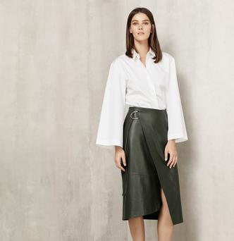 White blouse, €55, Bottle-green leather wrap skirt, €279, Autograph Collection Marks and Spencer.