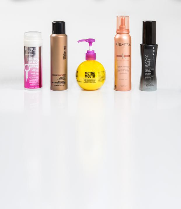 Pictured, from left, Redken Pillow Proof Blow Dry Express Treatment Primer; Shu Uemura Art of Hair Straightforward Time-Saving Blow Dry Oil; Tigi Bed Head Motor Mouth; Kerastase Discipline Mousse Curl Ideal; Joico Hair Shaker Liquid-to-Powder Finishing Texturiser. Photo: Kip Carroll.