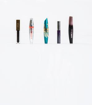 Pictured, from left, YSL Mascara Vinyl Couture; Bourjois Volume 1 Seconde Mascara; Max Factor Voluptuous False Lash Effect; Urban Decay Mascara Resurrection; Rimmel London Volume Colourist Mascara. Photo: Kip Carroll.