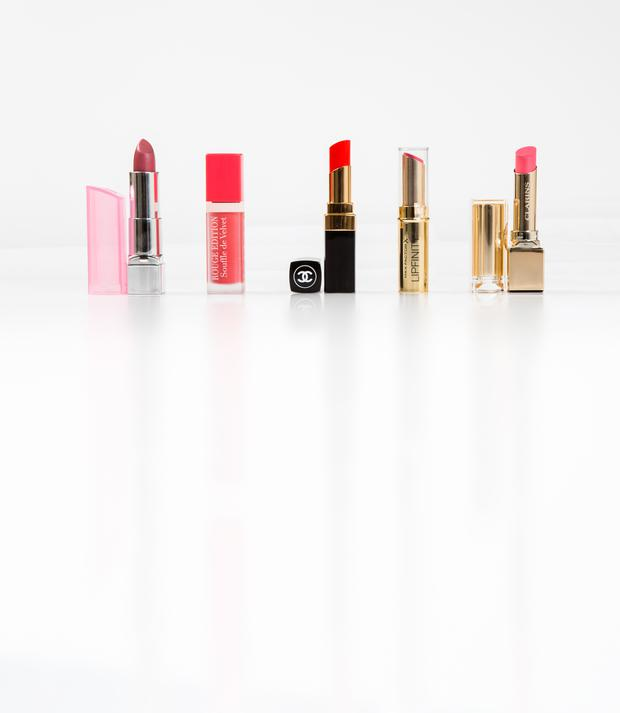 Pictured, from left, Rimmel Moisture Renew Sheer & Shine in Good Mauve; Bourjois Rouge Edition Souffle de Velvet in VIPeach; Chanel Rouge Coco Shine in Shipshape; Max Factor Lipfinity in So Vivid; and Clarins Rouge Eclat in Pink Blossom