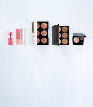 Pictured, from left, Bourjois Aqua Blush 12hr in Pink Twice; Catrice Blush Artist Shading Palette in CorAll I Need; Urban Decay Gwen Stefani Blush Palette; Sleek MakeUP Cream Contour Kit in Light; Chanel Highlighting Blush in Coups de Minuit. Photo: Kip Carroll.