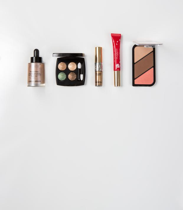 From left, Giorgio Armani Maestro Glow SPF30; Chanel Quadra Eyeshadow in Empreint du Desert; YSL Full Metal Shadow in Bonnie Copper; Clarins Instant Light Natural Lip Balm Perfector in Red Shimmer; Rimmel by Kate Sculpting Palette in Golden Bronze