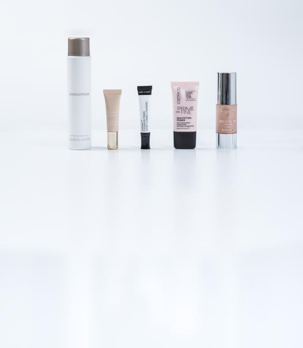 Pictured, from left, Giorgio Armani Prima Refreshing Make-Up Fix; Clarins Instant Light Eye Perfecting Base; Wet n Wild Photo Focus Eyeshadow Primer; Catrice Prime and Fine Beautifying Primer; Flormar Double Radiance Primer Highlighter SPF 10