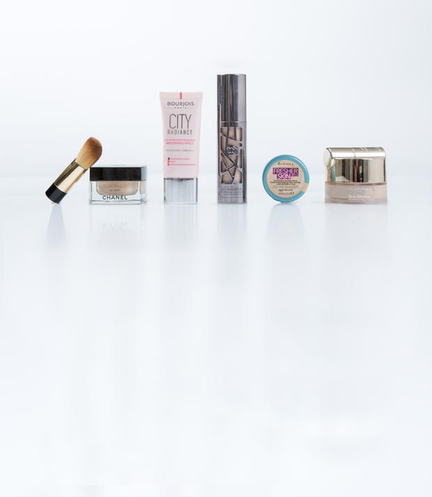 Pictured, from left, Chanel Sublimage Ultimate Radiance-Generating Cream Foundation; Bourjois City Radiance Skin Protecting Foundation SPF 30; Urban Decay All Nighter Liquid Foundation; Rimmel Fresher Skin SPF 15; Clarins Skin Illusion Loose Powder Foundation