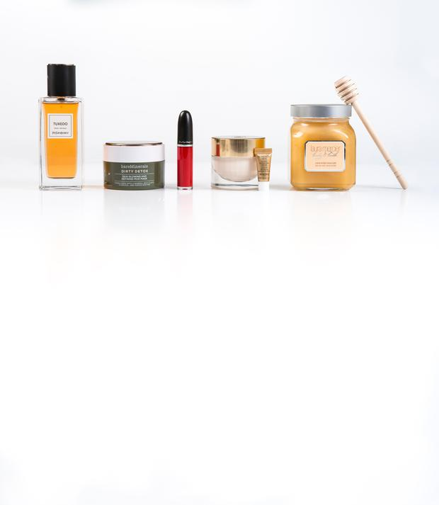 Pictured, from left, YSL Le Vestiaire des Parfums in Tuxedo; bareMinerals Dirty Detox Mud Mask; Mac Retro Matte Liquid Lipcolor in High Heels; Sisley Supremya Night Baume (with sample of Sisley Supremya Eyes at Night); Laura Mercier Creme Brulee Honey Bath