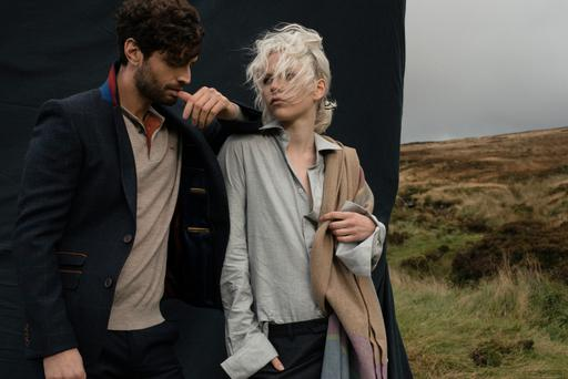 Violet wears: shirt (from menswear), €125; trousers (from menswear), €130; pashmina, €179.Jago wears: Jacket, €259; shirt, €120; trousers, €130