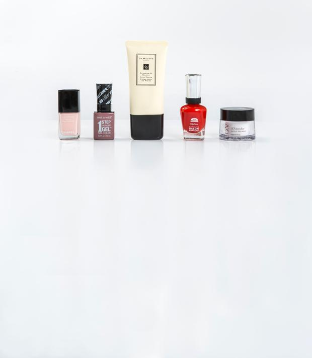 Pictured, from left, Chanel Velvet Nail Colour in Pink Rubber; Wet n Wild 1 Step Wonder Gel Nail Colour in Stay Classy; Jo Malone London Geranium & Walnut Hand Cream; Sally Hansen Complete Salon Manicure in New Flame; LOV LovTender Cuticle Treatment