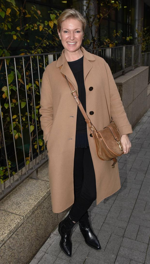 Chic: Rachel Allen in a camel coat