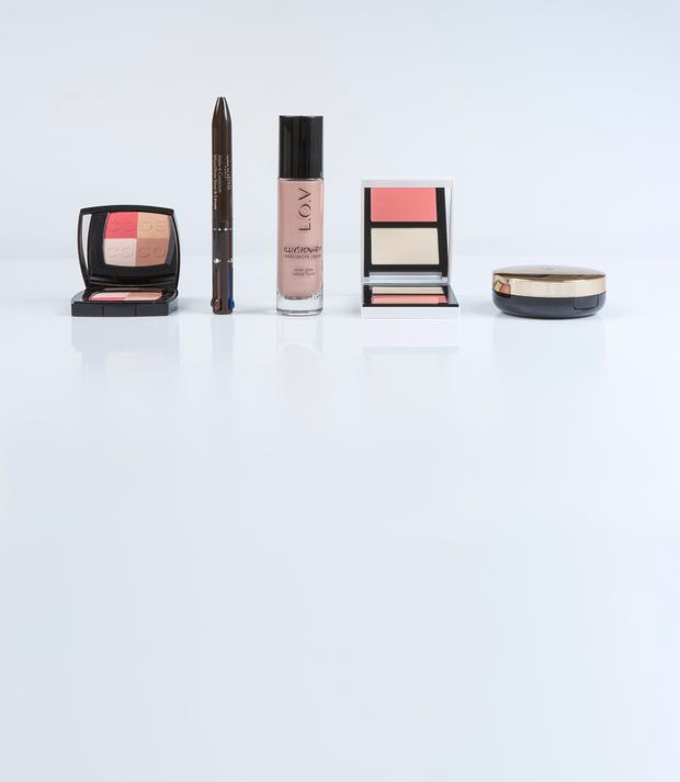 From left: Chanel Coco Code Blush Harmony; Clarins 4-Colour All-in-One Pen Eyes & Lips; L.o.v Illusionary Highlighter Cream in Illusionary Rose; Bobbi Brown Cheek Glow Palette in Pearl/Pink Flush; Lancome Teint Idole Ultra Cushion