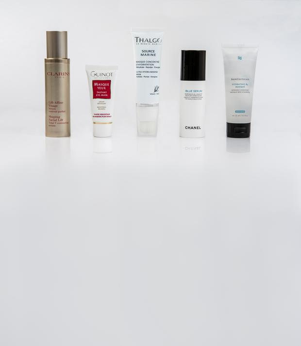Pictured, from left, Clarins Shaping Facial Lift; Guinot Instant Eye-Mask; Thalgo Ultra Hydra-Marine Masque; Chanel Blue Serum; SkinCeuticals Hydrating B5 Masque. Kip Carroll