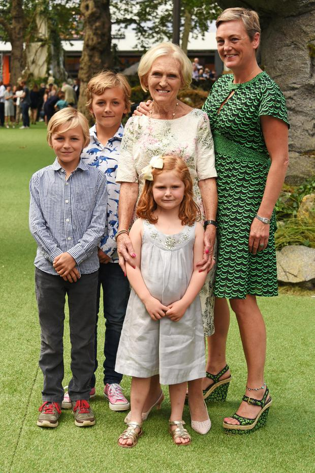 Family: Mary with daughter Annabel Hunnings and her grandchildren