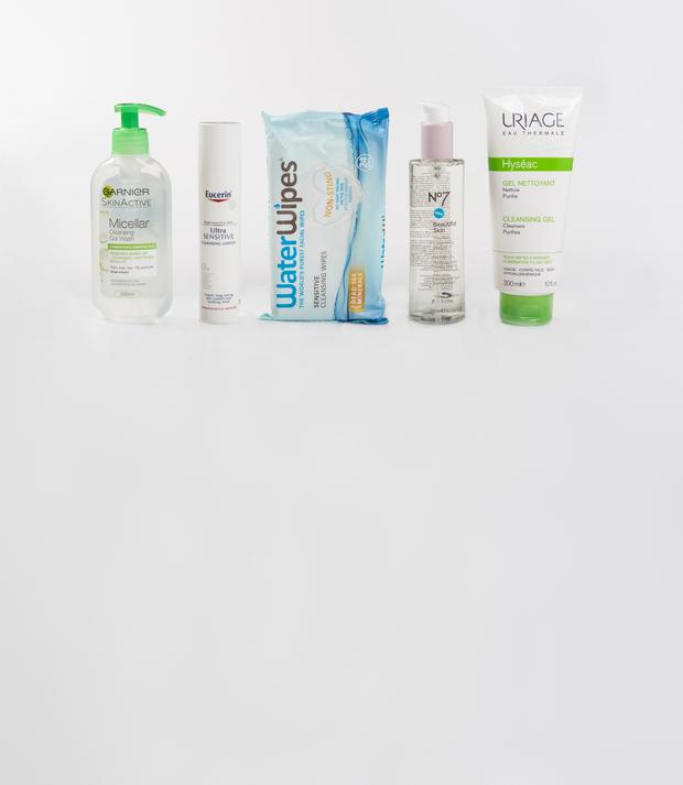 Pictured, from left, Garnier SkinActive Micellar Cleansing Gel Wash; Eucerin Ultra Sensitive Cleansing Lotion; WaterWipes Sensitive Cleansing Wipes; No7 Beautiful Skin Micellar Cleansing Water; Uriage Hyseac Cleansing Gel