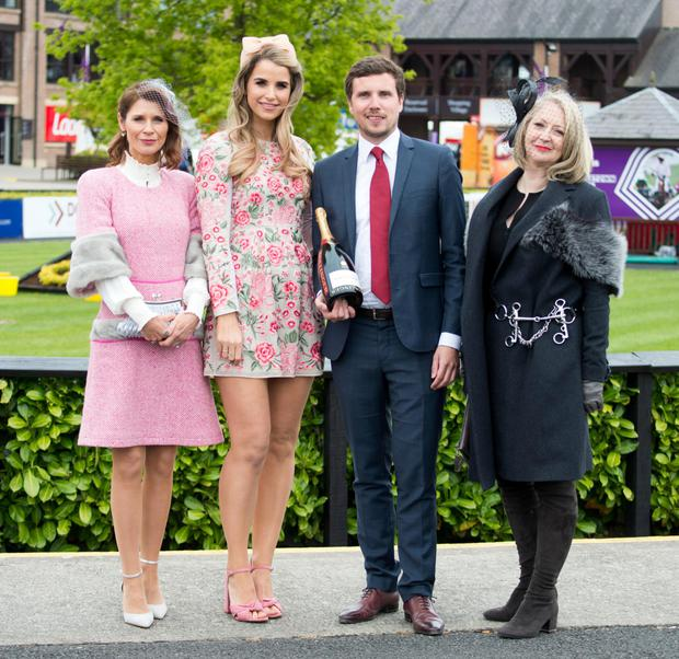 Heather de Bromhead, Vogue Williams, Bastien Mariani and Bairbre Power (All Judges in the Bollinger Best Dressed Ladies) at the fourth day of the Punchestown racing festival 2017
