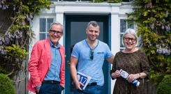 Rory O'Connell, Festival Director; Jacob Kenedy from Bocca Di Lupo, Soho, London and Darina Allen, Festival Director outside Ballymaloe House on the first day of LitFest 2017.