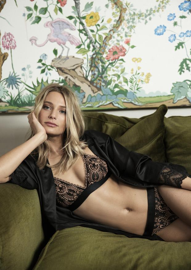 Gold embroidered bralette €9, embroidered thong €4, black satin robe €12