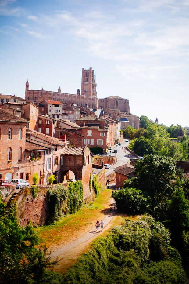 The spire of Saint Cecile rises above the town of Albi