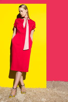 """Bucket sleeves are the """"detail of interest"""" on this Raspberry, contrast bow tie dress, €119"""