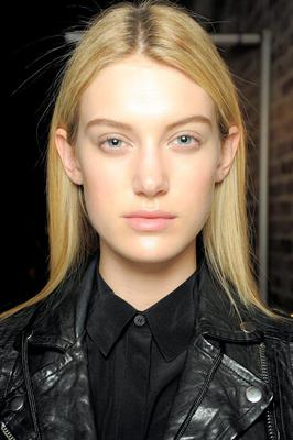 Seamless foundation at the DKNY fashion show, make-up by Maybelline.