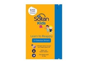 Soltan Kids Learn to Reapply UV Detection Stickers, below, €5 for a pack of eight.