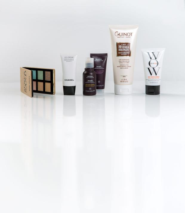 Pictured, from left, Bobbi Brown Surf and Sand Palette in Surf; Chanel CC Cream in Beige; Aveda Invati Shampoo and Conditioner; Guinot Lait Hydra Bronze; Color Wow Color Security Shampoo
