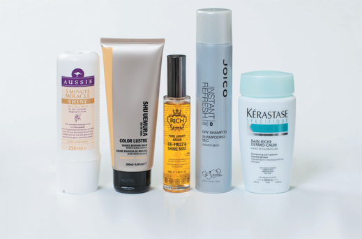Aussie 3 Minute Miracle Shine; Shu Uemura Colour Lustre Shades Reviving Balm; Rich Haircare Pure Luxury Argan De-Frizz and Shine Mist; Joico Instant Refresh Dry Shampoo; Kerastase Sensidote Bain Riche Dermo-Calm.