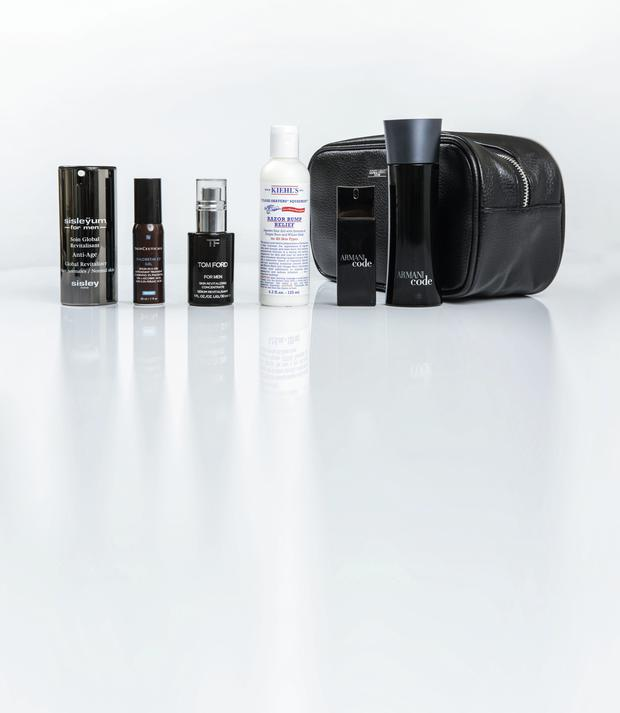 Pictured, from left: Sisleyum for Men Global Revitalizer; SkinCeuticals Phloretin CF Gel; Tom Ford For Men Skin Revitalising Concentrate; Kiehl's Ultimate Man Razor Bump Relief; Giorgio Armani Travel With Style gift set