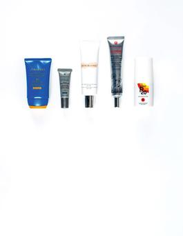 Pictured, from left, Shiseido Expert Sun Age Protection Cream SPF30; SkinCeuticals Mineral Eye UV Defense SPF30; Creme de la Mer The Reparative Skintint SPF30; Erborian Korean Skin Therapy CC Creme HD SPF25; Riemann P20 Sun Protection Spray SPF30