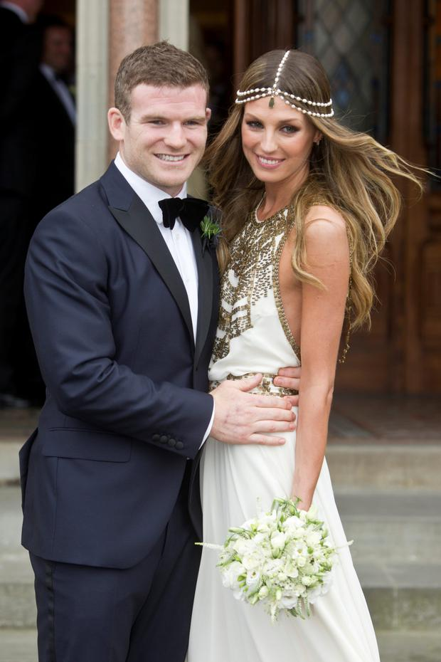Aoife Cogan with her groom Gordon D'Arcy on their wedding day in 2012