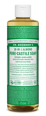 Dr Bronners Castille Soap €10.95 in Almond from pharmacies and health stores nationwide and healthybuzz.ie