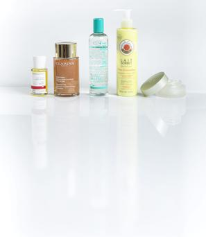 Pictured, from left: Dr Hauschka Rose Body Oil; Clarins Shimmer Oil; He-Shi Sublime Dry Oil; Roger & Gallet Lait Sorbet in Fleur D'Osmanthus; Chanel Chance Eau Fraiche Shimmering Touch