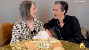 """Jodie Foster, winner of Best Supporting Actress Motion picture for """"The Mauritanian"""" and her wife Alexandra Hedison in this handout screen grab from the 78th Annual Golden Globe Awards in Beverly Hills, California, U.S., February 28, 2021."""