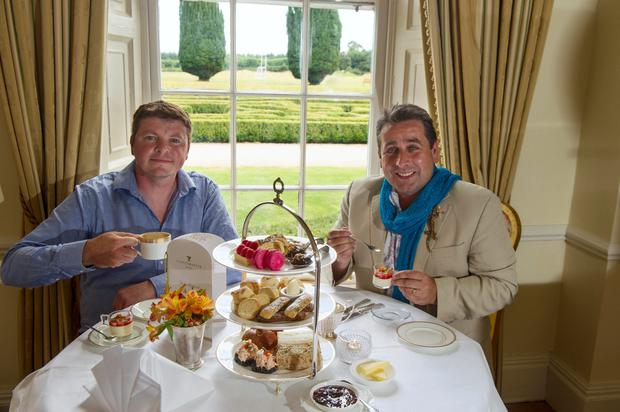 Tea-ing off: Franc and Graham enjoy an afternoon tea at the Castlemartyr Hotel