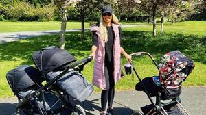 Rosanna Davison with her three babies and 'travelling crèche'. Picture: Instagram