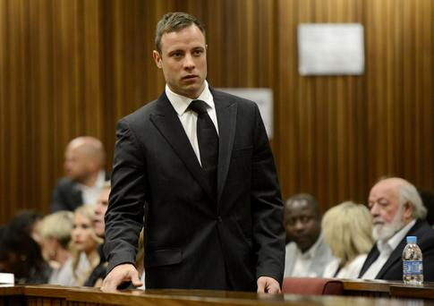 Taking a stand: Oscar Pistorius in a Pretoria courtroom.