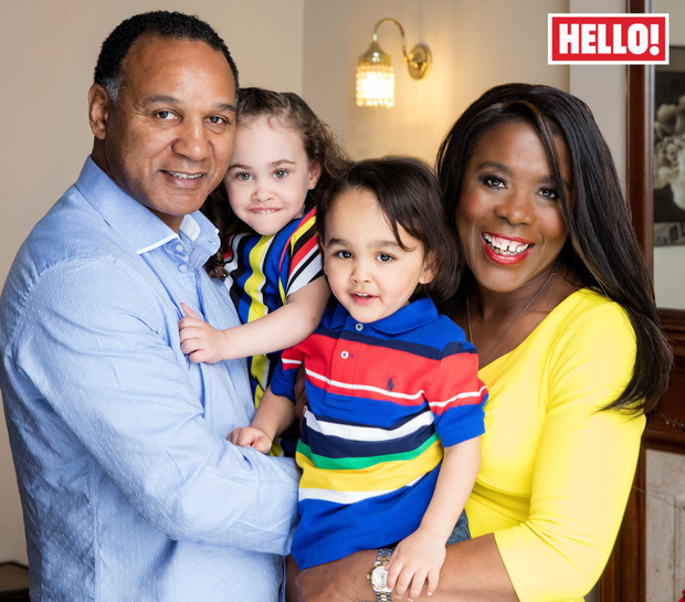Tessa Sanderson (60), her husband, fellow Olympian Densign White (54) and adopted twins Cassius and Ruby May in this week's Hello! magazine