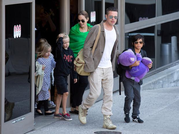 Brad and Angelina out and about with three of their six children