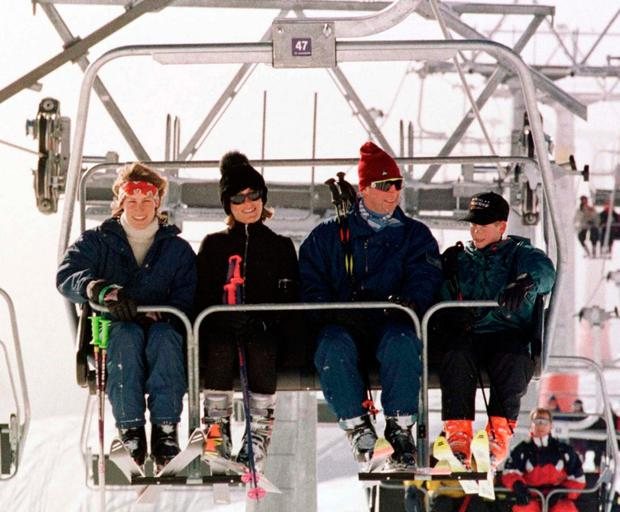 Tara, her sister Santa, Prince Charles and Prince William on a ski trip in 1997. Photo: John Stillwell