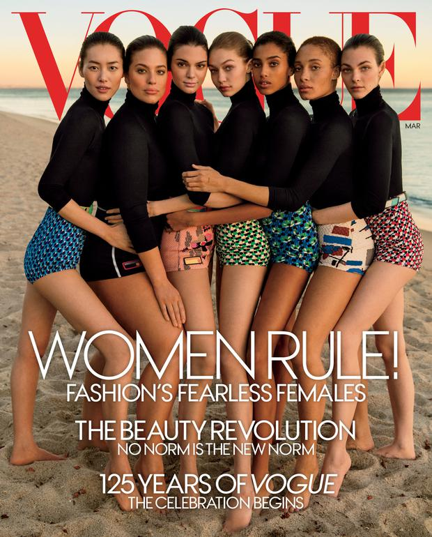 The cover of Vogue's March edition, with some very obvious retouching done on the models' arms