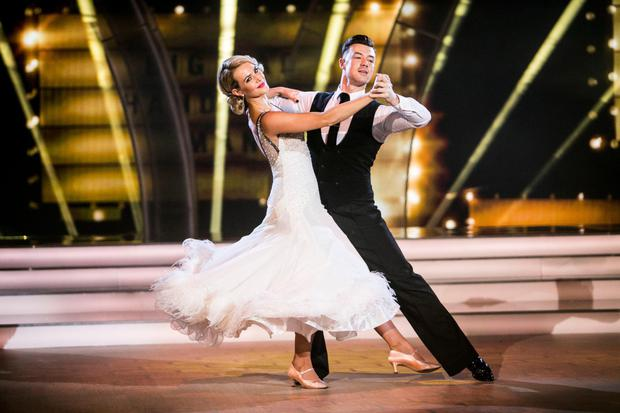Aoibhin Garrihy dancing a Foxtrot with Kai Widdrington on Dancing with the Stars