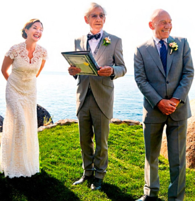 Ian McKellen does the ceremony at Patrick Stewart's wedding