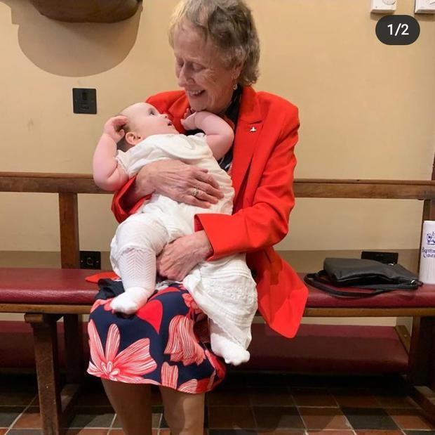 The mother of RTÉ presenter Miriam O'Callaghan, also called Miriam, holding her first great-grandchild Éabha Anne Breathnach