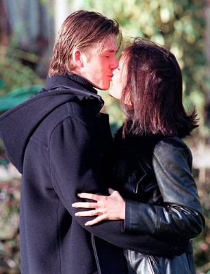 David and Victoria after getting engaged