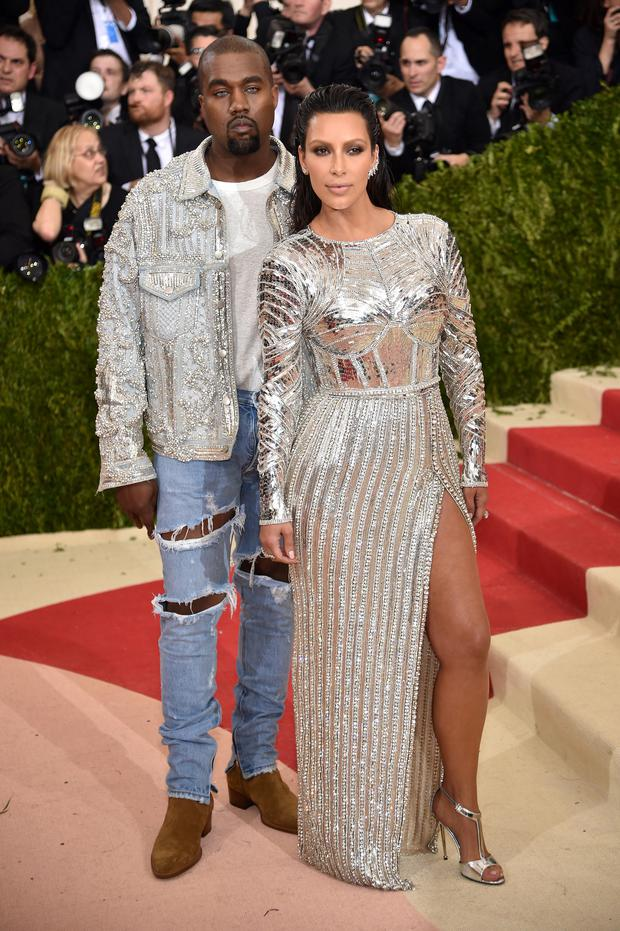 Kanye West and Kim Kardashian at the Met Gala 2016.